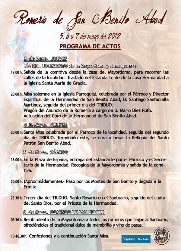 Programa de Actos de la Romería 2012